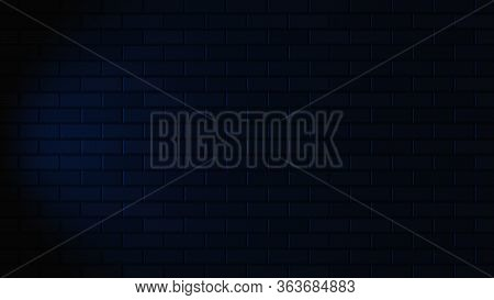 Black Brick Wall With Blue Neon Light With Copy Space. Lighting Effect Blue Color Glow On Brick Wall