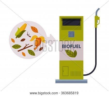 Biofuel Refill Station, Green Energy, Eco Transport Concept Flat Vector Illustration