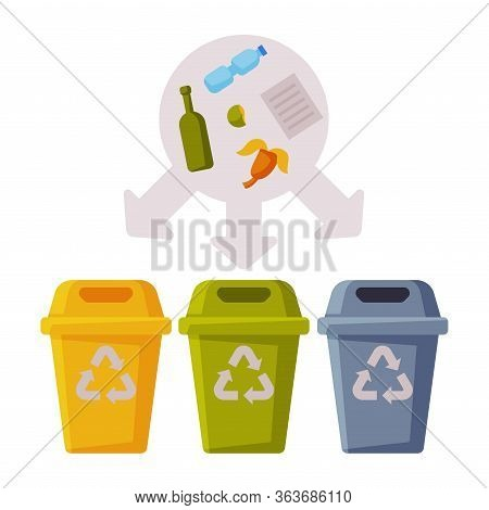 Sorting Waste For Recycling, Segregation And Separation Garbage Disposal Bins Flat Vector Illustrati