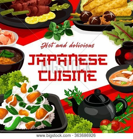 Japanese Cuisine Vector Menu Cover, Japan Authentic Restaurant Food Dishes. Japanese Traditional Swe