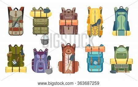 Backpack, Rucksack And Travel Bag With Tourist Equipment Icons Of Hiking, Camping, Tourism And Outdo