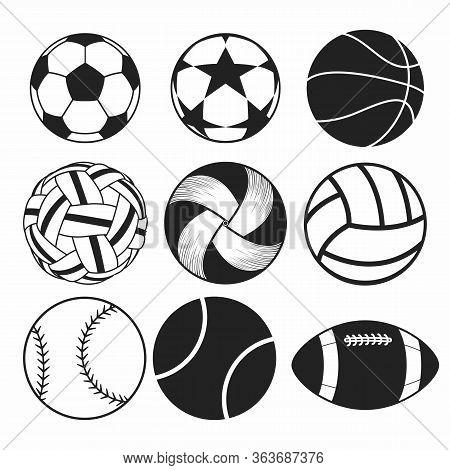 Set Of Balls. Collection Of Gaming Balls. Black White Illustration Of Balls For Sport. Linear Art. T