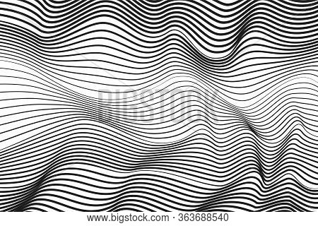 Black Undulating Lines, Techno Concept. Abstract Striped Pattern. White Background. Vector Modern Op