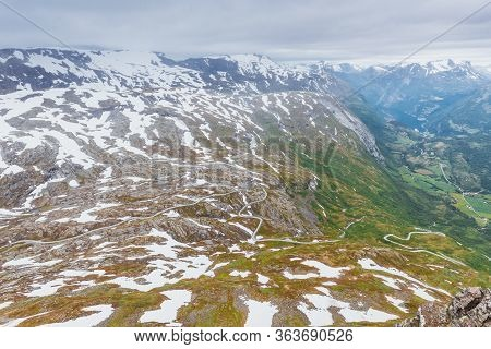 Tourism Vacation And Travel. Fantastic View From The Dalsnibba Plateau Viewpoint On Geirangerfjord A