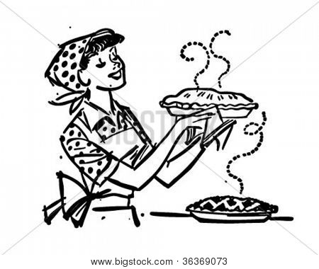 Mom With Fresh Baked Pies - Retro Clipart Illustration