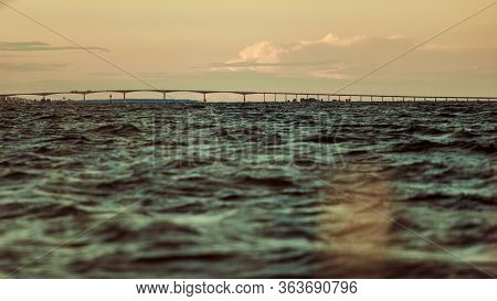 Oresundsbron. The Oresund Bridge Link Between Denmark And Sweden, Europe, Baltic Sea, View From Sail