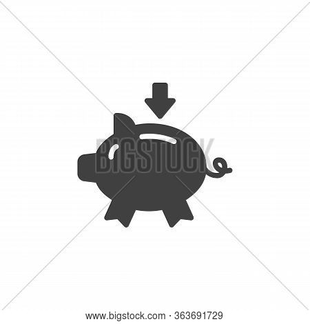 Piggy Bank And Arrow Vector Icon. Filled Flat Sign For Mobile Concept And Web Design. Saving Piggy B