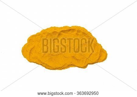 Smear Dried Turmeric, Curcumin , Yellow Ginger Powder Isolated On White Color Background, Used For C