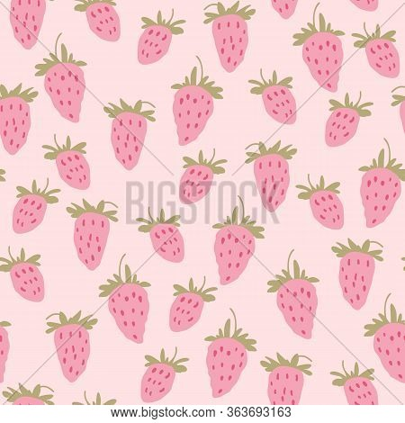 Wild Strawberries Pattern. Seamless Strawberry Texture For Fabric, Web Banner Design. Small Pink Ber