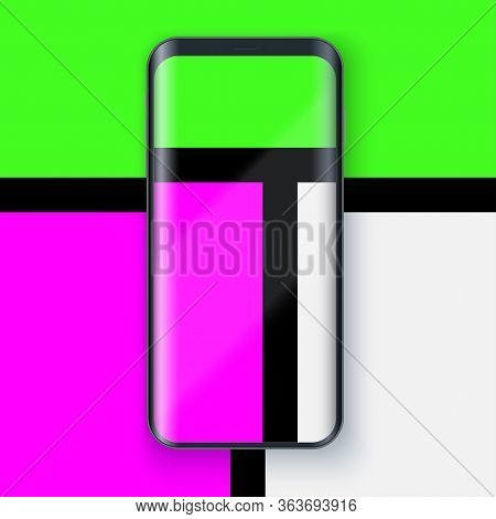 Smartphone Layout Presentation Mockup In Mondrian Style. Example Frameless Model Mobile Phone With T