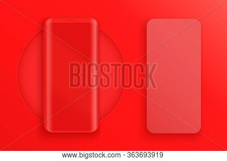 Smartphone Two Layout Presentation Mockup In Red Color. Example Frameless Model Mobile Phone With To