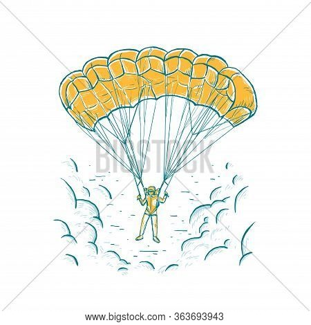 Parachuting Sport Concept. Sketch Vector Bright Illustration With Hand Drawn Skydiver Flying With A