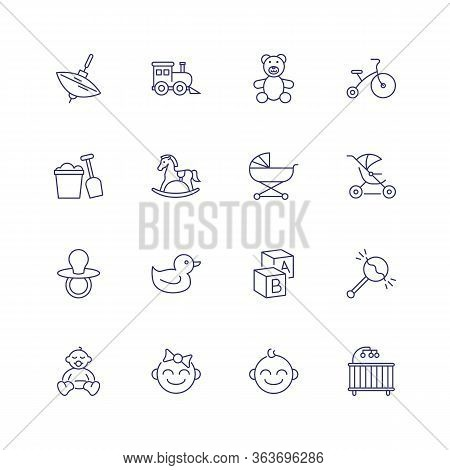 Childhood Icons. Set Of Line Icons On White Background. Toys, Baby, Daycare. Nursery Concept. Can Be