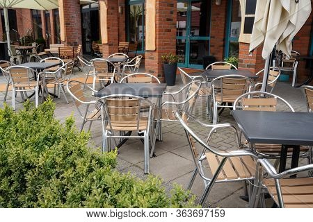 Empty Street Café In A Tourist Resort, Forbidden To Open Due To The Coronavirus Pandemic Crisis, Fin