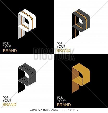 Isometric Set Letter P. Black, White, Gold Palette. From Stripes, Lines. Template For Creating Logos