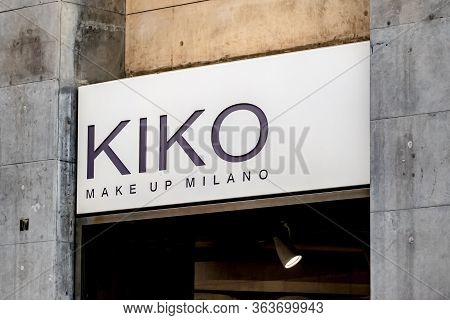 Siracusa, Sicily - February 13, 2020: The Logo Of Kiko Make Up Milano Outlet Which Provides Make-up