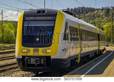 Tuebingen,germany - April 11,2020:main Station This Modern Train Is An Ire Line,which Drives To Stut