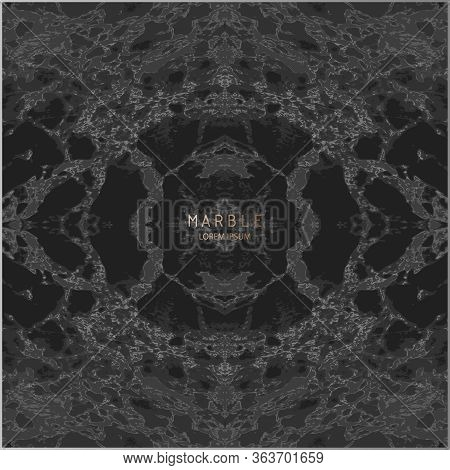 Grunge Marbled Design. Vector Background. Black Marble Texture. Trendy Template For New Year, Party,