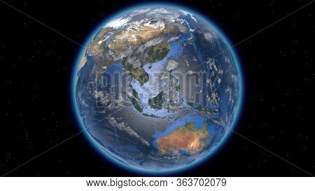 Beautiful Planet Earth In Space Against The Background Of Stars. Europe Asia And Australia. 3d Rende