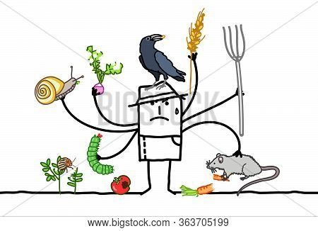 Hand Drawn Multitasking Cartoon Farmer, Angry Because Of Animals Eating His Plants
