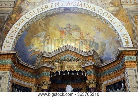 Urbino,  Italy - January 3, 2019: Altarpiece At The Oratorio Di Santo Giuseppe Or Oratory Of St. Jos