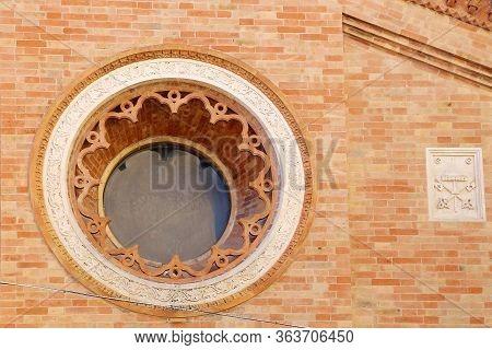 Urbino, Italy - March 24, 2019:  Facade Of The Oratory Of San Giovanni Battista In Urbino