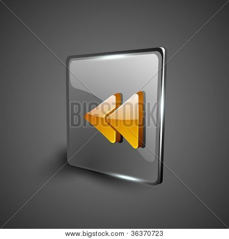 Glossy web 2.0 music icon, previous or rewind button. EPS 10.