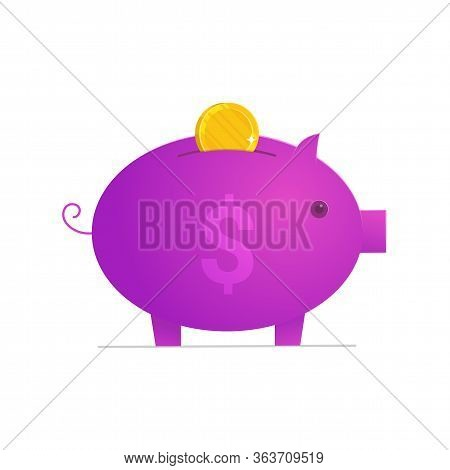 Financial Asset Icon Isolated On White Background. Piggy Bank With Golden Coin. Wealth And Capital I