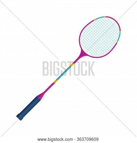 Sports Equipment For Badminton Game. Bright Realistic Badminton Racket Vector Illustration. Outdoors