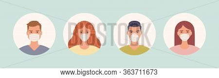 Male And Female In Medical Face Protection Mask. People Avatars. Man And Women User Portraits Wearin
