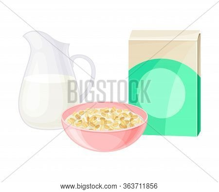 Breakfast Crunchy Cereal Poured In Bowl With Milk Vector Illustration