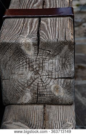Gray Patterns Of Rough Wooden Texture Of Square Beam. Hardwood Background In Shades Of Grey. Woodwor
