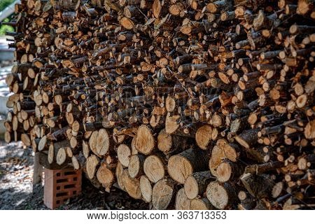Rustic Woodpile With Ends Of Cut Firewood Logs Of Different Sizes And Shapes. Rough Wooden Surface O