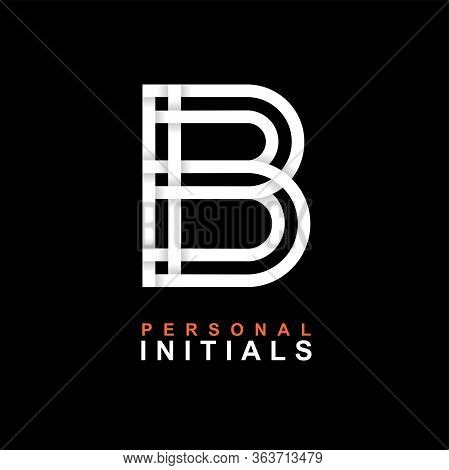 Capital Letter B. Created From Interwoven White Stripes With Shadows On A Black Background. Template