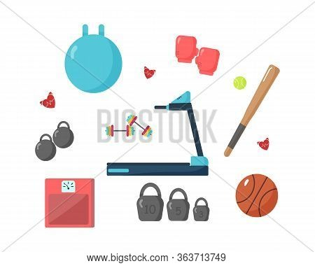 Sports Equipment On White Background.equipment For Sports And Physical Activity.set Of Flat Items.st