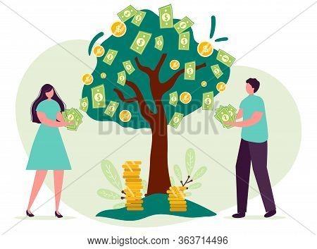 Man Woman Cartoon Character, Concept Of Growing Company. Tree Money Grow. Family Businessmen Teamwor