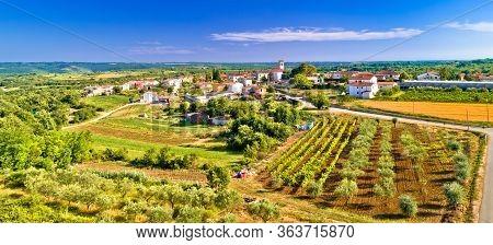 Village Of Nova Vas In Istria Aerial View, Historic Architecture Of Istria, Croatia