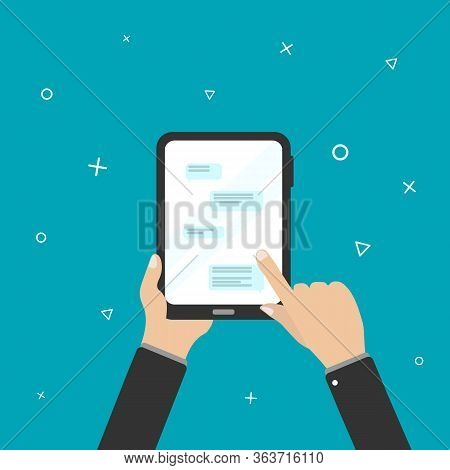 Finger Touching The Screen Smartphone.smartphone In The Hand In Flat Design.mobile Application And M