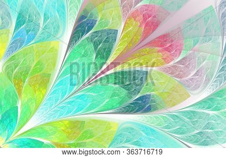 Multicolored Floral Pattern In Stained-glass Window Style. Symmetrical Fractal Pattern. Multicolor B