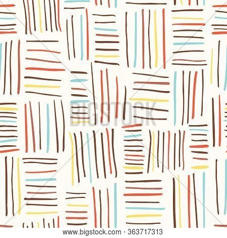 Hand Drawn Colorful Basket Weave Vector Seamless Pattern On Cream Tone Background. Cute Kids Tribal