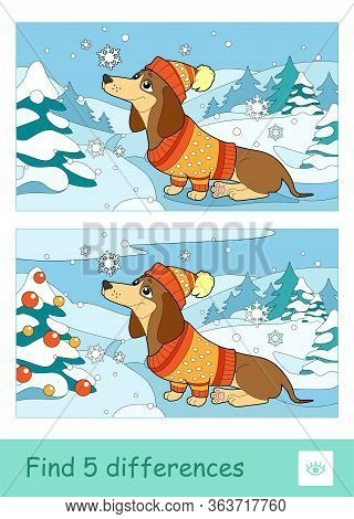 Find Five Differences Quiz Learning Children Game With Image Of A Dog In Hat And Sweater Sitting In