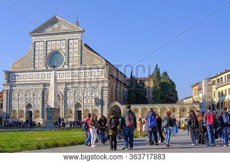 Florence, Tuscany, Italy, March 30, 2019: People At The Church Basilica Of Santa Maria Novella In Fl