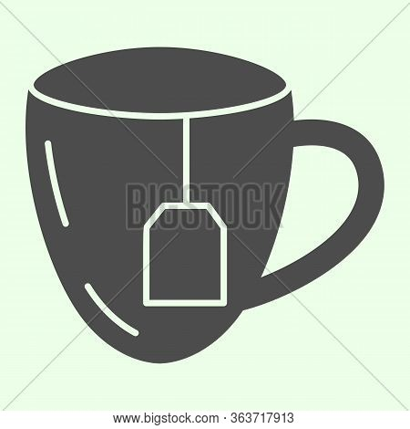 Lunch Break Solid Icon. Cup Of Tea With Tea Bag Glyph Style Pictogram On White Background. Business