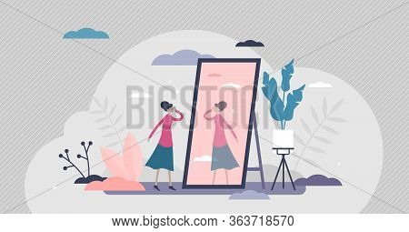 Self Absorption Concept, Flat Tiny Person Vector Illustration. Relationships With Self Image And Per