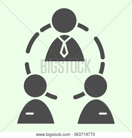 Business Team Solid Icon. Office Workgroup With Employees And Boss Connections Glyph Style Pictogram