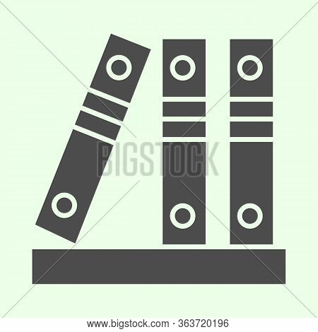 Office Folders Solid Icon. Row Of Binders Glyph Style Pictogram On White Background. Three Business