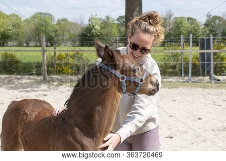 Young Colt With A Young Woman, They Hug With Pleasure, Outside In The Sun.