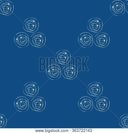 Scribbled Ink Line Circle Vector Seamless Pattern Background. Monochrome Trios Of Swirls On Navy Blu