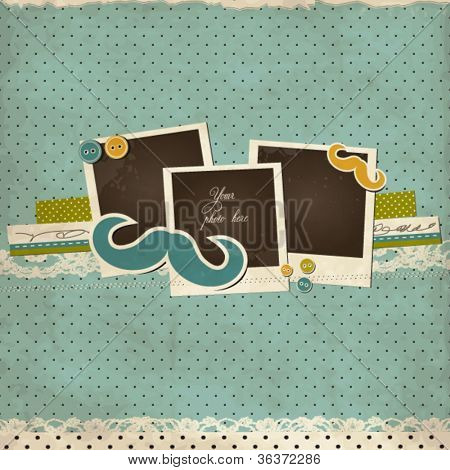 Mustache scrap card with photo frames