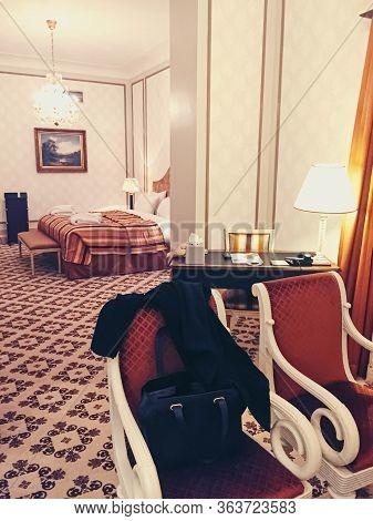 Brussels, Belgium Circa January, 2020: Interior Design Of A Room In Five Star Hotel Metropole In Bru